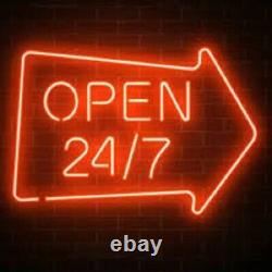 New Open 24hrs 7days Arrow Neon Lamp Sign 20x16 Light Glass Garage Pub Store