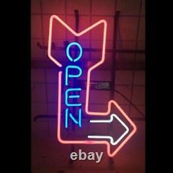 New Open Arrow Right Neon Lamp Sign 20x16 Light Glass Garage Bar Pub Store