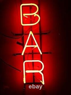 New Red Bar Store Neon Lamp Sign 20x8 Light Real Glass Garage Pub Shop