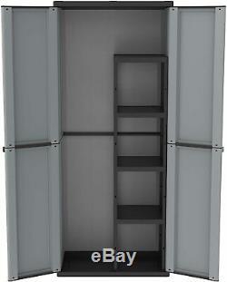 Outdoor Plastic Garden Storage Broom Garage Tool Store Two Door Wardrobe Cabinet