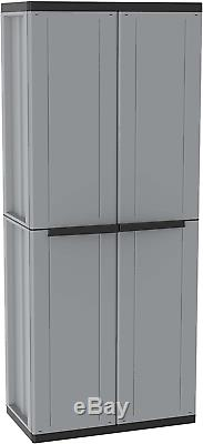 Plastic Garden Storage Garage Tool Store Two Door Wardrobe Cabinet Lockable