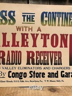 RARE Vintage Valley Tone Radio Receiver Store Garage Dealer Display Sign