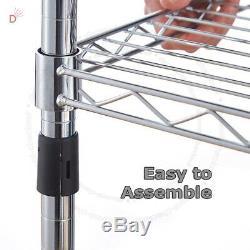 Real Chrome Wire Rack Metal Steel Kitchen Garage Store Shelving Shelf Racks