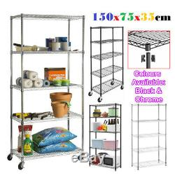 Real Chrome Wire Rack Metal Steel Kitchen Garage Store Shelving Shelf Racks UK