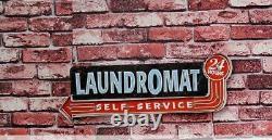 Retro Hang Sign Led Light Laundromat Business Wash Cleaner Store Decor Wall Art