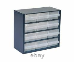 Small Parts Storage Steel 12 Drawer Unit Store Components Wall Mountable Drawers