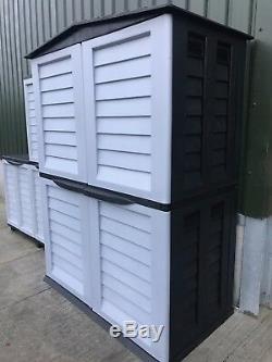 Starplast High Store Plastic Garden Shed Storage Garden Garage Black & Silver