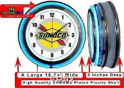 Sunoco Gas Oil 19 Double Neon Clock Blue Neon Man Cave Garage Shop Store