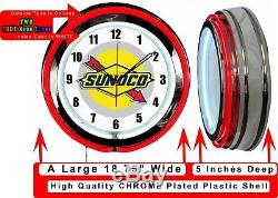 Sunoco Gas Oil 19 Double Neon Clock Red Neon Man Cave Garage Shop Store
