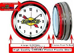 Sunoco Logo Gas Oil 19 Double Neon Clock Red Neon Man Cave Garage Shop Store