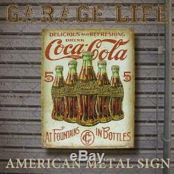 Tin Sign Coca-Cola 5 Bottle Coca-Cola Sign Store Garage