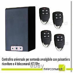 Trousse Central Commande Volet Store Garage Boîte + Récepteur 4 Télécommandes