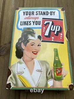 Vintage 7-UP Porcelain RARE Garage SODA Gas Oil Sign 7UP General Store Station