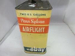 Vintage Advertising Airflight Motor Oil 2 Gallon Can Tin Garage Store 63-z