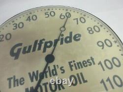 Vintage Advertising Gulf Pride Oil Auto Round Thermometer Garage Store M-501