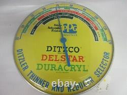 Vintage Advertising Ppg Ditzler Paint Round Thermometer Garage Store A-426