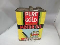 Vintage Advertising Pure Gold Motor Oil 2 Gallon Can Tin Garage Store 764-q