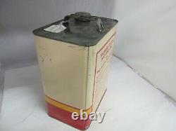 Vintage Advertising Silver Shell Motor Oil 2 Gallon Can Tin Garage Store A-313