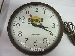 Vintage Advertising Sunoco Wall Electric Clock Plastic Garage Store M-954