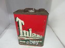 Vintage Advertising Tulane Motor Oil 2 Gallon Can Tin Garage Store 801-q