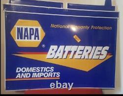 Vintage Embossed NAPA Batteries Auto Parts Store Metal Sign Garage Nice