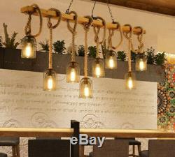 Vintage Hemp Rope Chandelier Bar Restaurant Clothing Store Lighting Pendant Lamp