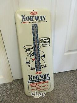 Vintage Nor'way Antifreeze Garage Shop Store Thermometer Advertising A-245