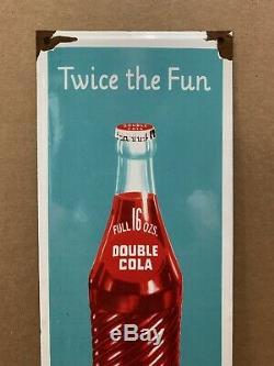 Vintage Porcelain Double Cola Sign General Store Soda Coke Bottle Garage Bar