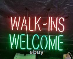 Walk Ins Welcome Neon Lamp Sign 14x8 Bar Lighting Garage Cave Store Artwork