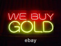 We Buy Gold Neon Lamp Sign 14x8 Bar Lighting Garage Cave Store Artwork Decor