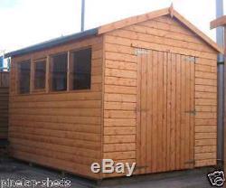 10x8 Garage Atelier Bois Entierement T & G Hangar Magasin 10ft X 8ft Apex Ou Appentis