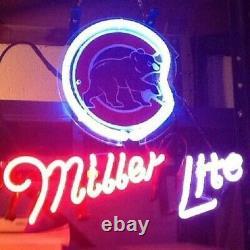 13x8 Cubs De Chicago Miller Lite Neon Beer Sign Light Lamp Bar Garage Store Hang