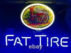 13x8 Fat Tire Bicycle Bike Neon Beer Sign Light Lamp Bar Garage Store Suspendu