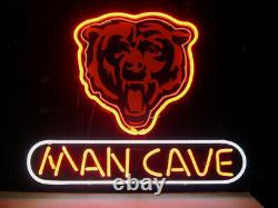 13x8 Man Cave Chicago Bears Neon Beer Sign Light Lamp Bar Garage Store Hang