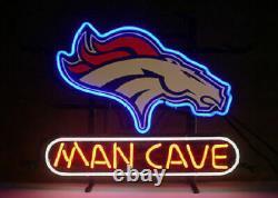 13x8 Man Cave Denver Broncos Neon Beer Sign Light Lamp Bar Garage Store Hang