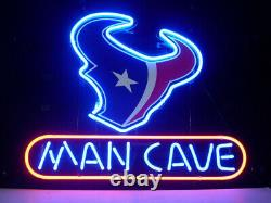 13x8 Man Cave Houston Texans Neon Beer Sign Light Lamp Bar Garage Store Hang