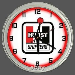 16 Hurst Shifters Red Neon Clock Homme Cave Garage Boutique Bar Store Racing