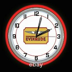 19 Evinrude Boat Motors Red Double Neon Clock Man Cave Garage Store Shop
