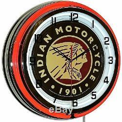 19 Indian Motorcycle 1901 Red Neon Clock Man Cave Garage Boutique Bar Bike Store