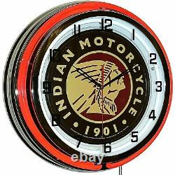 19 Indian Motorcycle 1901 Red Neon Clock Man Cave Garage Shop Shop Bar Bike