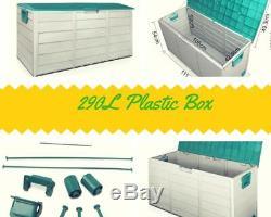 290l Boîte De Rangement En Plastique Abri De Jardin Extérieur Grand Patio Cabinet Garage Magasin