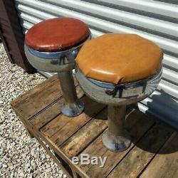 2 Bar Retro Diner Tabourets, Soda Fountain Chrome Magasin Milieu Du Siècle 1950 Tabourets