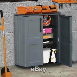 3ft Plastique Moyen Garage Armoire De Stockage Tablettes Unité Magasin Abri MID Cabinet