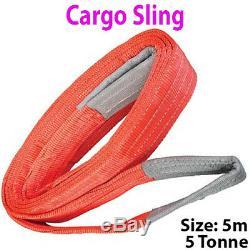5m 5 Tonnes (5000kg) Appartement Webbing Fort Cargo Sling -lifting Grue De Levage Sangle