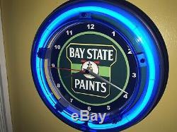 Bay State Painter Magasin De Peinture Garage Publicité Néon Bleu Horloge Murale Signe