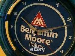 Benjamin Moore Peintre Magasin De Peinture Garage Publicité Néon Bleu Horloge Murale Signe
