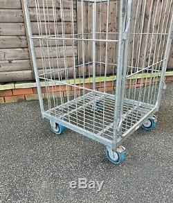 Cage Rouleau Métallique Chariot Mobile Jardin Connexion Atelier Garage Magasin Parcel Stockage