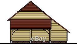 Ch25bl Oak Cadre Garage / Panier Lodge Kit De Construction 2-bay / Side Aisle / Connexion Magasin