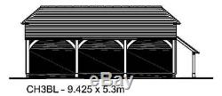 Ch3bl Oak Cadre Garage Bâtiment / Panier Lodge Autoassemblage Kit & Log Magasin