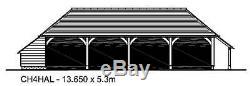 Ch4hal Oak Cadre Garage / Panier Lodge Kit De Construction 4-bay / Side Aisle / Connexion Magasin